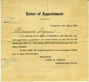Bessie Lynn's Notice of Appointment