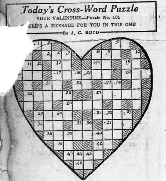 While I Was Researching Valentines Day In Bloomington It Fun To Discover The Crossword Puzzles Bloomingtons Evening World